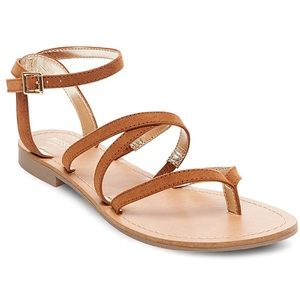 MOSSIMO Mai Brown Ankle Strap Thong Sandals 6.5